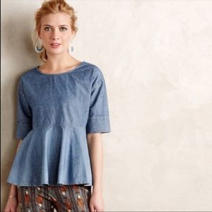 AG Adriano Goldschmied Chambray Peplum Swing Top